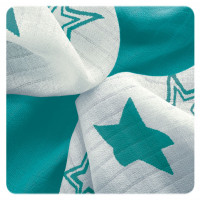 Bamboo muslins XKKO BMB 30x30 - Turquoise Stars MIX 10x9pcs (Wholesale packaging)