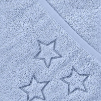 Hooded terry bath towel XKKO Organic 90x90 - Baby Blue Stars
