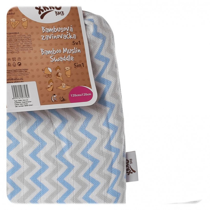 Bamboo swaddle XKKO BMB 120x120 - Baby Blue Chevron 5x1ps (Wholesale packaging)