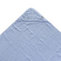 Hooded terry bath towel XKKO Organic 90x90 - Baby Blue Stars 5x1ps (Wholesale pack.)