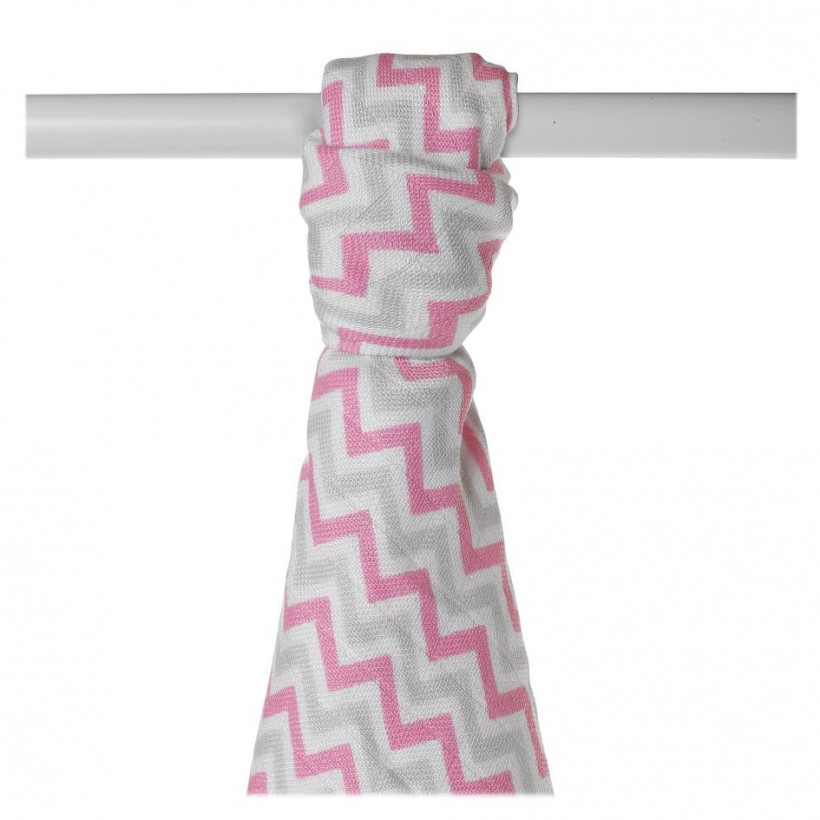 Bamboo muslin towel XKKO BMB 90x100 - Baby Pink Chevron 10x1pcs (Wholesale packaging)