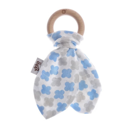 XKKO BMB Bamboo teether with Leaves - Baby Blue Cross