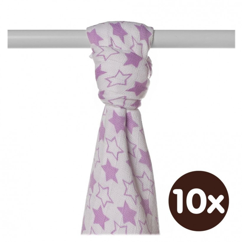 Bamboo muslin towel XKKO BMB 90x100 - LIttle Stars Lilac 10x1pcs (Wholesale packaging)