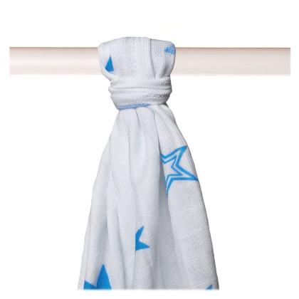 Bamboo muslin towel XKKO BMB 90x100 - Cyan Stars