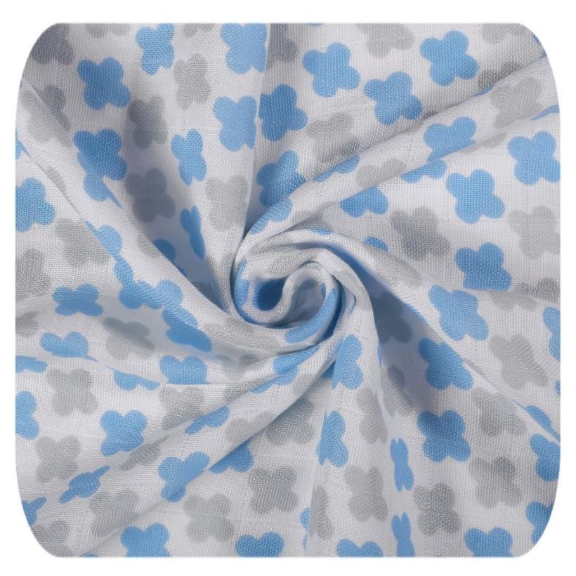 Bamboo muslin towel XKKO BMB 90x100 - Baby Blue Cross 10x1pcs (Wholesale packaging)