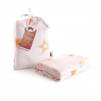 Bamboo swaddle XKKO BMB 120x120 - Orange Stars 5x1ps (Wholesale packaging)