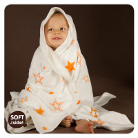 Bamboo blanket XKKO BMB 130x70 - Orange Stars 5x1ps Wholesale packing