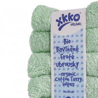 Organic cotton terry wipes XKKO Organic 21x21 - Mint