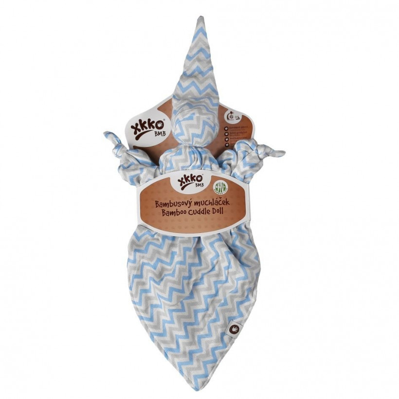 Bamboo cuddly toy XKKO BMB - Baby Blue Chevron 5x1ps (Wholesale packaging)