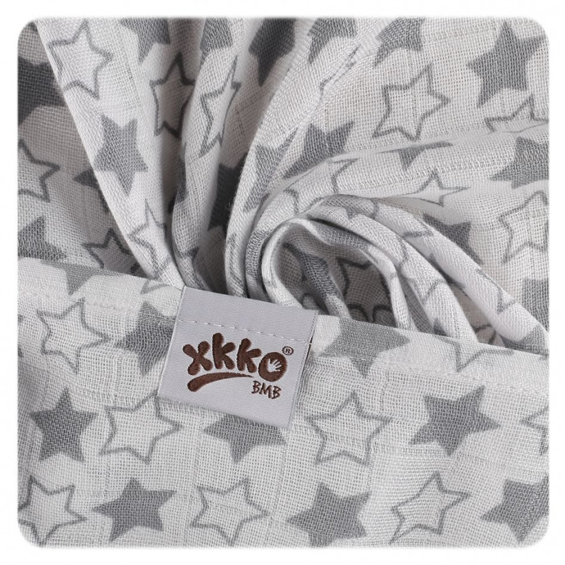 Bamboo muslins XKKO BMB 70x70 - Little Stars Silver MIX 10x3pcs (Wholesale packaging)