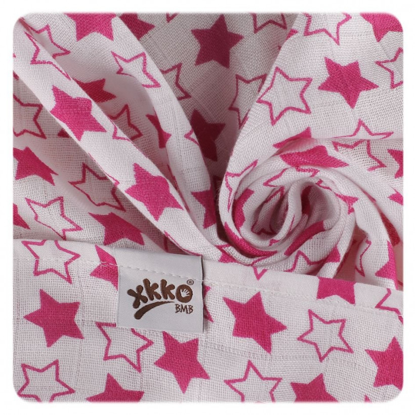 Bamboo muslin towel XKKO BMB 90x100 - LIttle Stars Magenta 10x1pcs (Wholesale packaging)