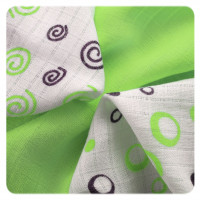 Bamboo muslins XKKO BMB 30x30 - Spirals&Bubbles Lime MIX 10x9pcs (Wholesale packaging)