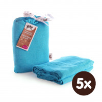 Bamboo swaddle XKKO BMB 120x120 - Cyan 5x1ps (Wholesale packaging)