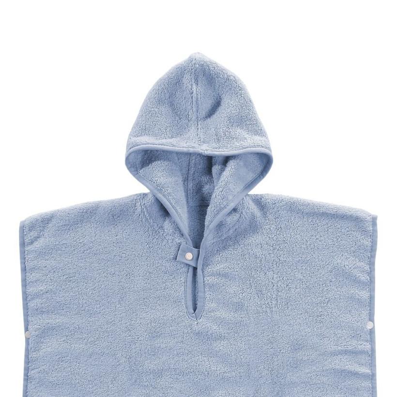 Organic cotton terry Poncho XKKO Organic - Baby Blue Stars