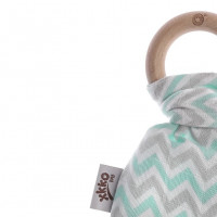 XKKO BMB Bamboo teether with Leaves - Chevron Mint