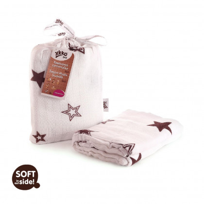 Bamboo swaddle XKKO BMB 120x120 - Natural Brown Stars