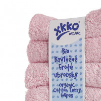 Organic cotton terry wipes XKKO Organic 21x21 - Baby Pink