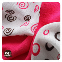 Bamboo muslins XKKO BMB 30x30 - Spirals&Bubbles Magenta MIX 10x9pcs (Wholesale packaging)