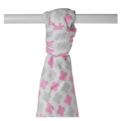 Bamboo muslin towel XKKO BMB 90x100 - Baby Pink Cross