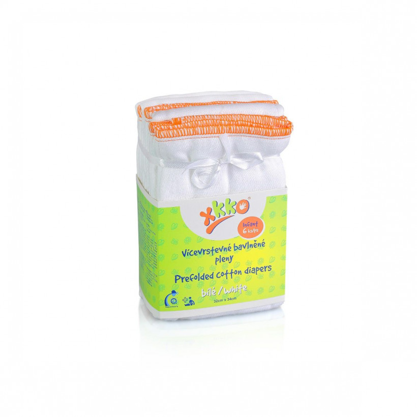 Prefolded Diapers XKKO Classic - Infant White 6x6ps (Wholesale pack.)