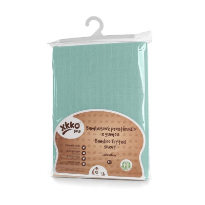 Bamboo muslin fitted bed sheet XKKO BMB 120x60 - Mint
