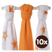 Bamboo muslins XKKO BMB 70x70 - Orange Stars MIX 10x3pcs (Wholesale packaging)
