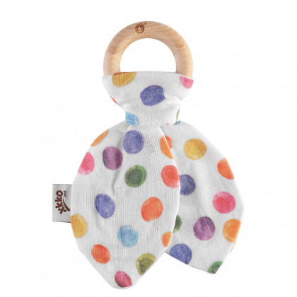 XKKO BMB Bamboo teether with Leaves Digi - Watercolour Polka Dots