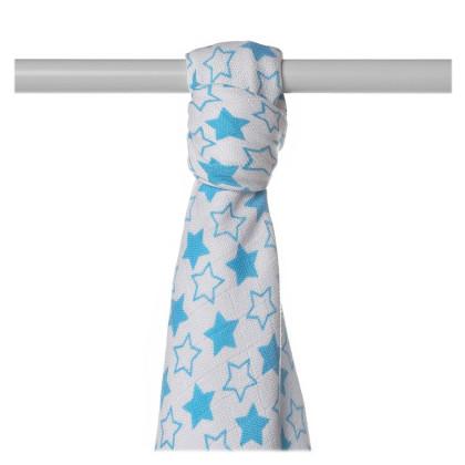 Bamboo muslin towel XKKO BMB 90x100 - LIttle Stars Cyan