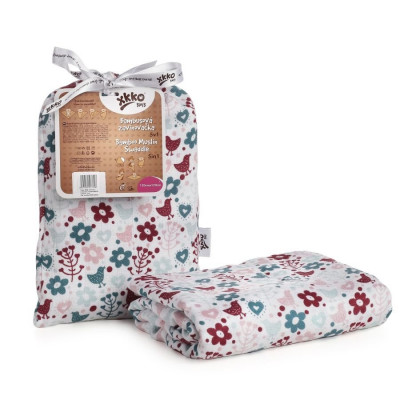 Bamboo swaddle XKKO BMB 120x120 - Flowers&Birds Girls