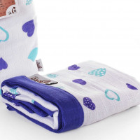 Bamboo muslin blanket XKKO BMB 100x100 - Ocean Blue Hearts 5x1ps (Wholesale packing)