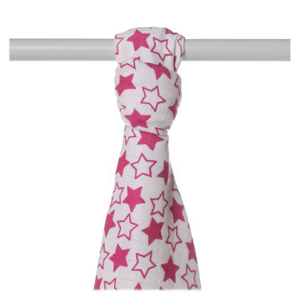 Bamboo muslin towel XKKO BMB 90x100 - LIttle Stars Magenta