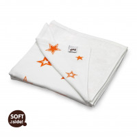 Bamboo blanket XKKO BMB 130x70 - Orange Stars