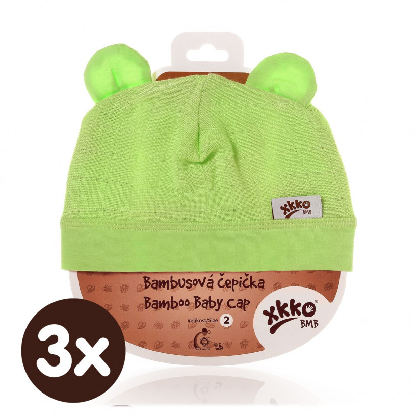Bamboo Baby Hat XKKO BMB - Lime 3x1ps (Wholesale packaging)