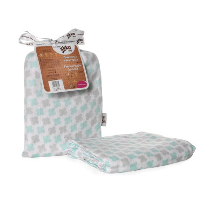 Bamboo swaddle XKKO BMB 120x120 - Mint Cross