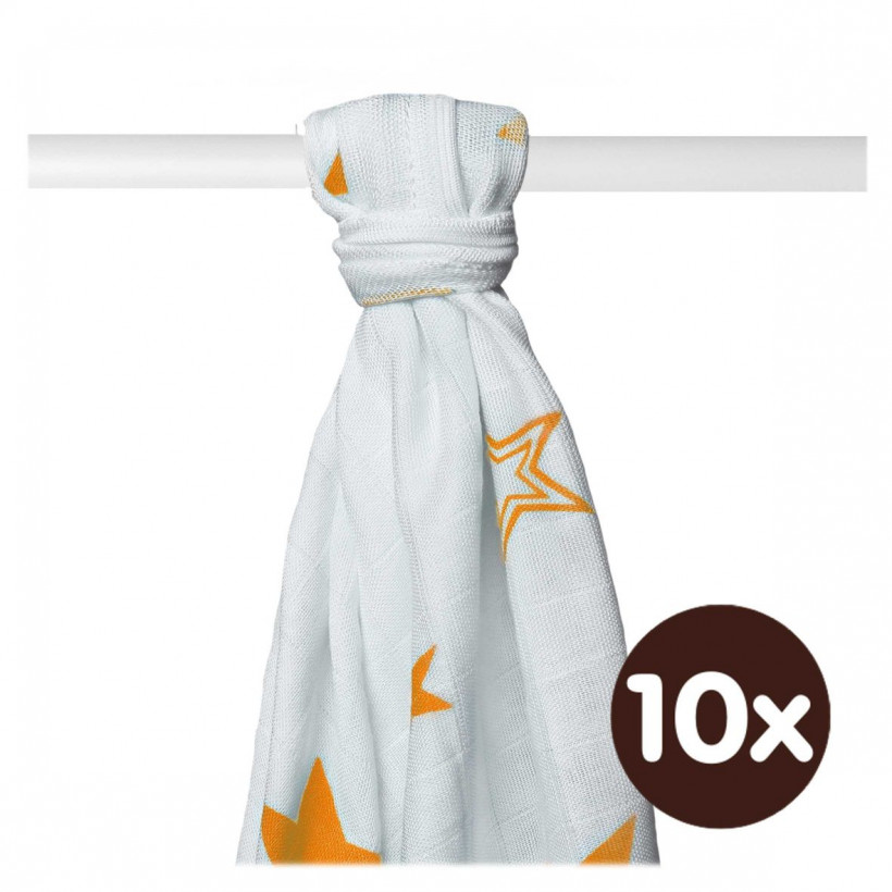 Bamboo muslin towel XKKO BMB 90x100 - Orange Stars 10x1pcs (Wholesale packaging)