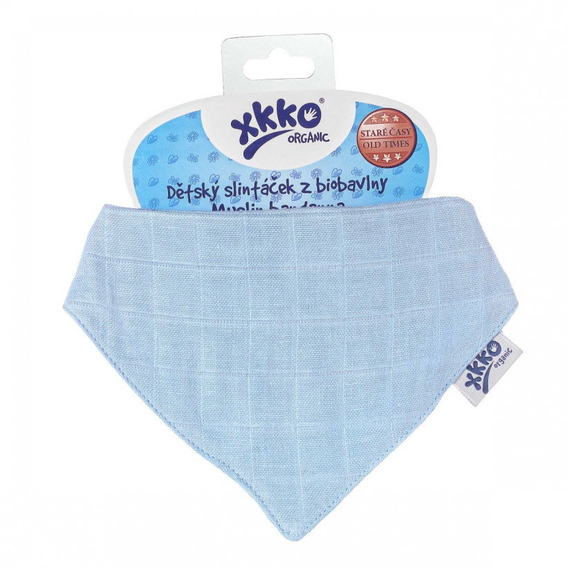 Organic Cotton Muslin Bandana XKKO Organic - Sky Blue 3x1ps (Wholesale pack.)