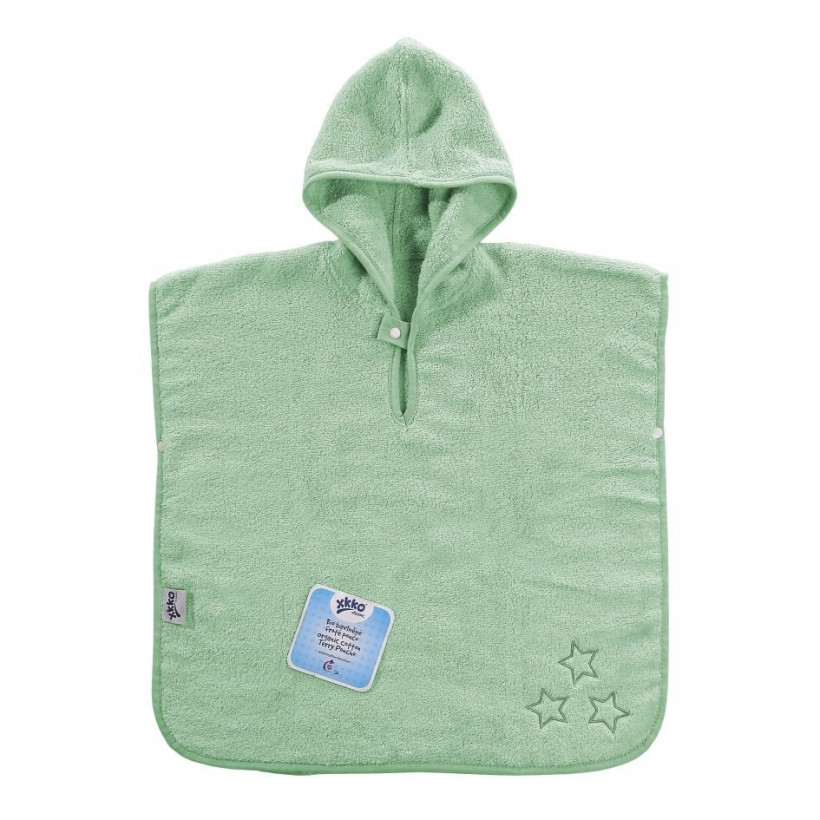 Organic cotton terry Poncho XKKO Organic - Mint Stars 5x1ps (Wholesale pack.)