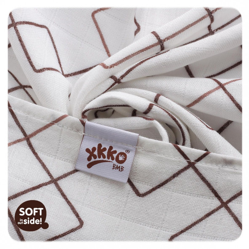 Bamboo muslin towel XKKO BMB 90x100 - Natural Brown Squares