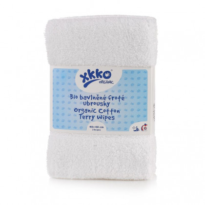 Organic cotton terry wipes XKKO Organic 40x40 - White