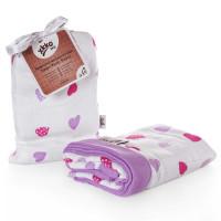 Bamboo muslin blanket XKKO BMB 100x100 - Lilac Hearts