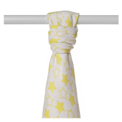 Bamboo muslin towel XKKO BMB 90x100 - LIttle Stars Lemon