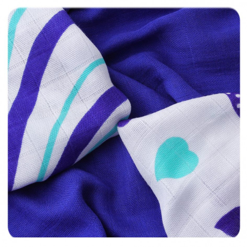Bamboo muslins XKKO BMB 30x30 - Hearts&Waves Ocean Blue MIX 9pcs