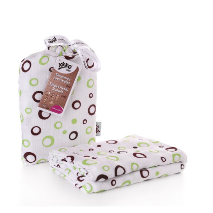 Bamboo swaddle XKKO BMB 120x120 - Lime Bubbles