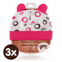 Bamboo Baby Hat XKKO BMB - Magenta Bubbles 3x1ps (Wholesale packaging)