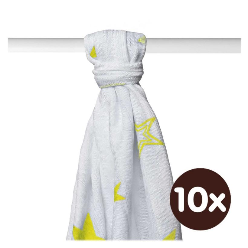Bamboo muslin towel XKKO BMB 90x100 - Lemon Stars 10x1pcs (Wholesale packaging)