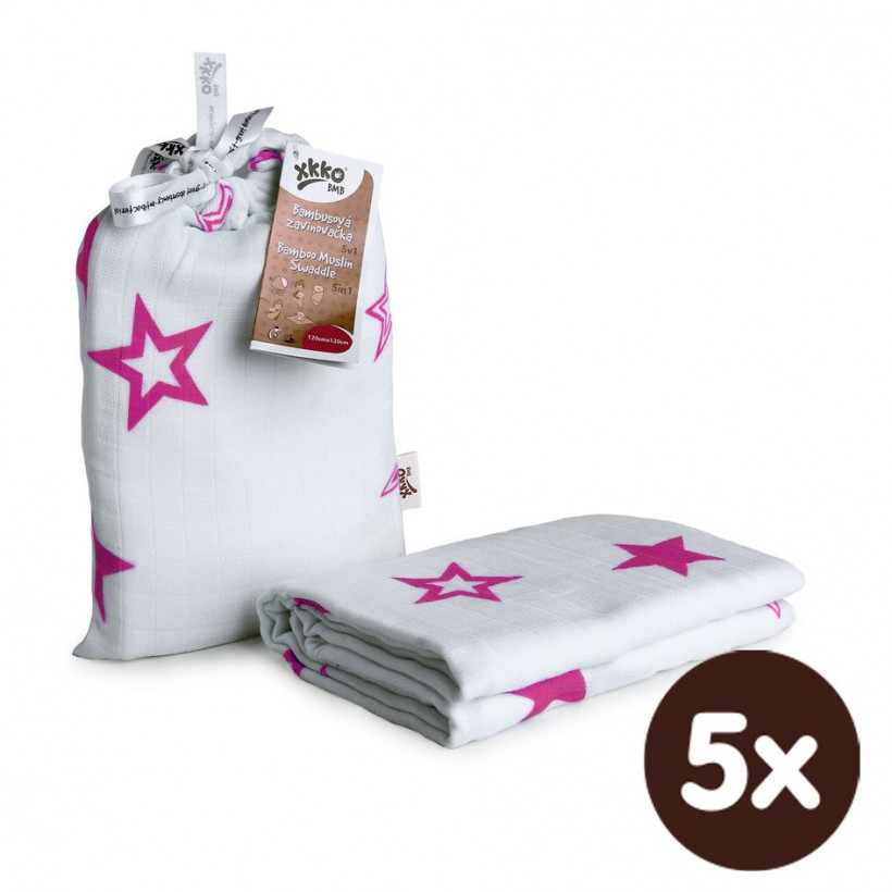 Bamboo swaddle XKKO BMB 120x120 - Magenta Stars 5x1ps (Wholesale packaging)