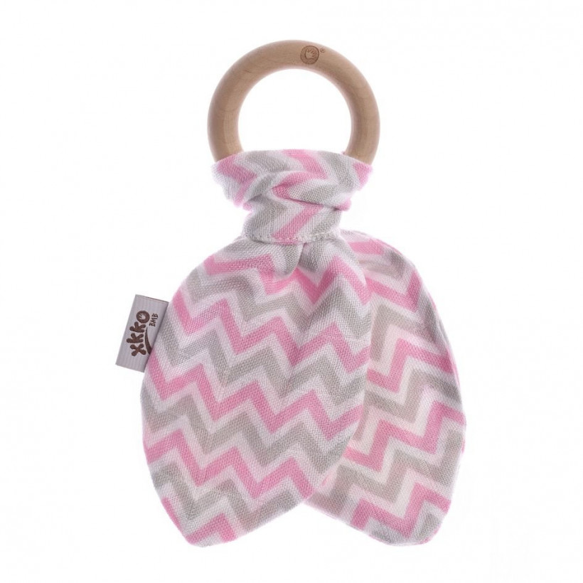 XKKO BMB Bamboo teether with Leaves - Chevron Baby Pink