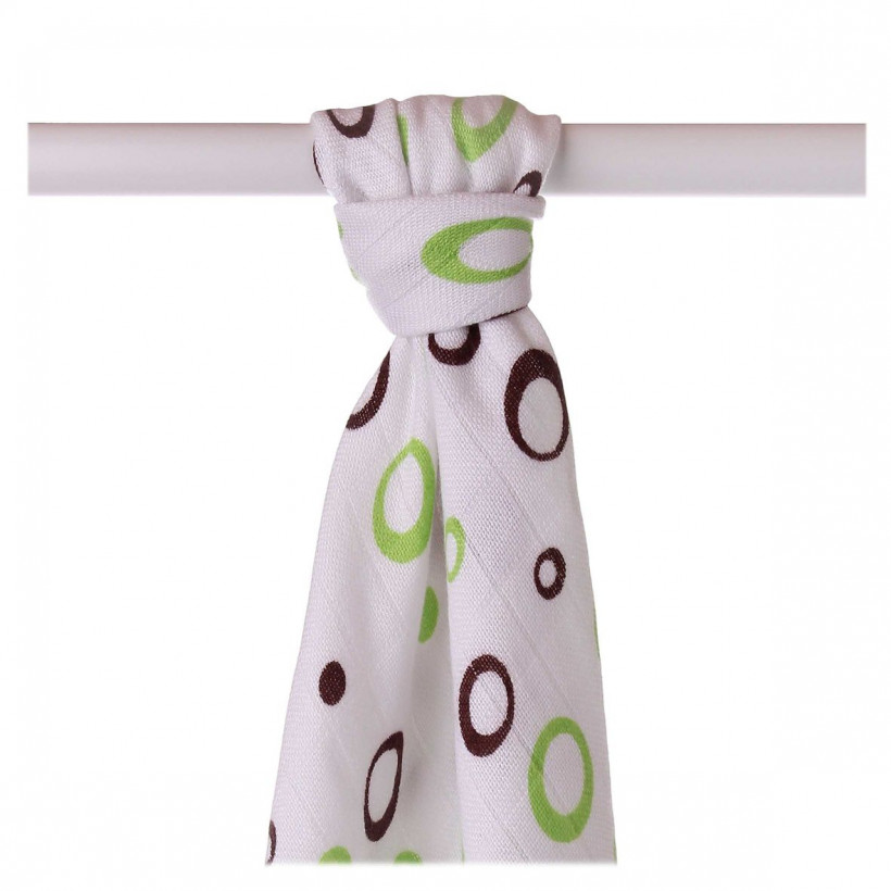 Bamboo muslin towel XKKO BMB 90x100 - Lime Bubbles 10x1pcs (Wholesale packaging)