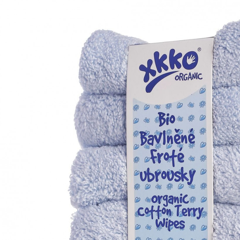 Organic cotton terry wipes XKKO Organic 21x21 - Baby Blue 5x6ps (Wholesale pack.)