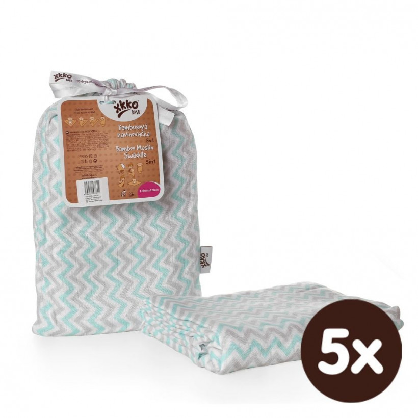Bamboo swaddle XKKO BMB 120x120 - Mint Chevron 5x1ps (Wholesale packaging)